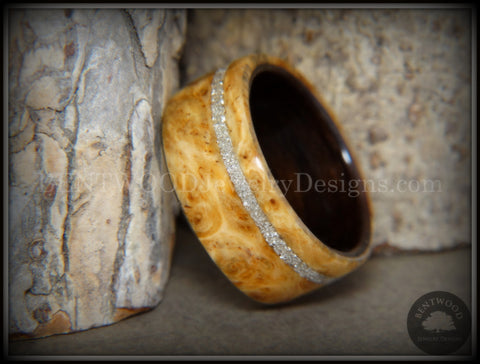 Bentwood Ring - Golden Amboyna Burl Ring on Ebony Wood Liner and Offset Silver Glass Inlay