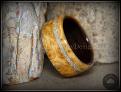 Bentwood Ring - Golden Amboyna Burl Ring on Ebony Wood Liner and Offset Silver Glass Inlay - Bentwood Jewelry Designs - Custom Handcrafted Bentwood Wood Rings  - 1