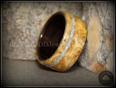 Bentwood Ring - Golden Amboyna Burl Ring on Ebony Wood Liner and Offset Silver Glass Inlay - Bentwood Jewelry Designs - Custom Handcrafted Bentwood Wood Rings  - 2