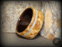 Bentwood Ring - Golden Amboyna Burl Ring on Ebony Wood Liner and Offset Silver Glass Inlay - Bentwood Jewelry Designs - Custom Handcrafted Bentwood Wood Rings  - 6