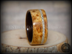 Bentwood Ring - Golden Amboyna Burl Ring on Ebony Wood Liner and Offset Silver Glass Inlay - Bentwood Jewelry Designs - Custom Handcrafted Bentwood Wood Rings  - 4