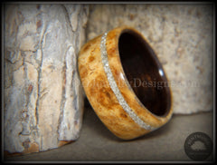 Bentwood Ring - Golden Amboyna Burl Ring on Ebony Wood Liner and Offset Silver Glass Inlay - Bentwood Jewelry Designs - Custom Handcrafted Bentwood Wood Rings  - 5