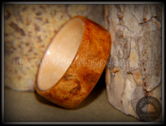 Bentwood Ring - Golden Amboyna Burl with Maple Liner - Bentwood Jewelry Designs - Custom Handcrafted Bentwood Wood Rings  - 2