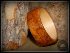 Bentwood Ring - Golden Amboyna Burl with Maple Liner - Bentwood Jewelry Designs - Custom Handcrafted Bentwood Wood Rings  - 4