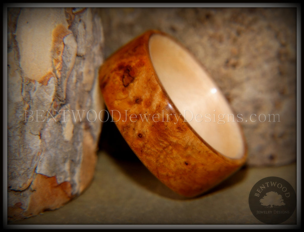 Bentwood Ring - Golden Amboyna Burl with Maple Liner - Bentwood Jewelry Designs - Custom Handcrafted Bentwood Wood Rings  - 1