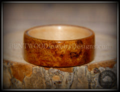 Bentwood Ring - Golden Amboyna Burl with Maple Liner - Bentwood Jewelry Designs - Custom Handcrafted Bentwood Wood Rings  - 3