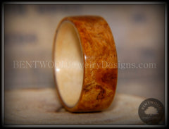 Bentwood Ring - Golden Amboyna Burl with Maple Liner - Bentwood Jewelry Designs - Custom Handcrafted Bentwood Wood Rings  - 6