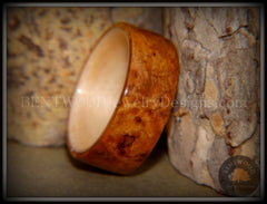 Bentwood Ring - Golden Amboyna Burl with Maple Liner - Bentwood Jewelry Designs - Custom Handcrafted Bentwood Wood Rings  - 5