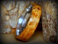 "Bentwood Ring - ""Rarity"" Golden Light Amboyna Burl Wood Ring with Titanium Steel Comfort Fit Metal Core"