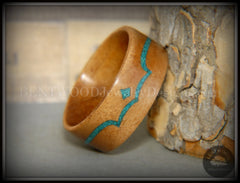 Bentwood Ring - Honduran Mahogany Wood Ring with Chrysocolla Inlay handcrafted bentwood wooden rings wood wedding ring engagement
