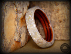 Bentwood Ring - Kingwood Ring with Full White Mother of Pearl Inlay - Bentwood Jewelry Designs - Custom Handcrafted Bentwood Wood Rings