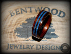 Bentwood Ring - Kingwood Wooden Ring with Double Blue Lapis Inlay handcrafted bentwood wooden rings wood wedding ring engagement