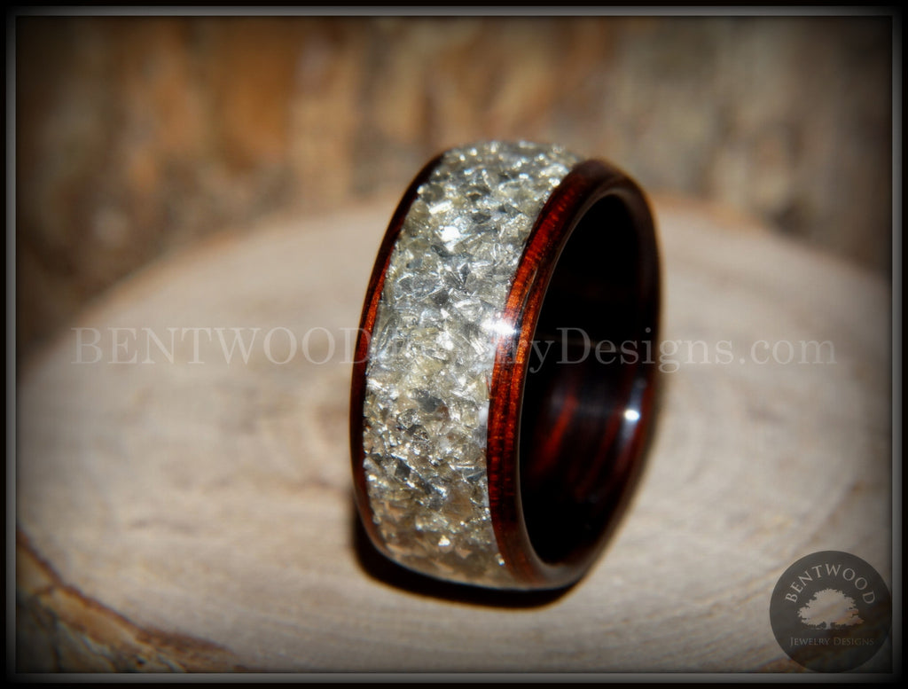 Bentwood Kingwood Wooden Wedding Ring Silver Glass Inlay
