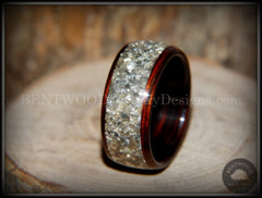 Bentwood Ring - Kingwood Wooden Ring with Wide Crushed Silver Glass Inlay - Bentwood Jewelry Designs - Custom Handcrafted Bentwood Wood Rings  - 4