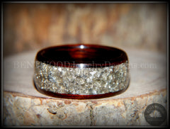 Bentwood Ring - Kingwood Wooden Ring with Wide Crushed Silver Glass Inlay - Bentwood Jewelry Designs - Custom Handcrafted Bentwood Wood Rings  - 5