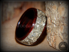 Bentwood Ring - Kingwood Wooden Ring with Wide Crushed Silver Glass Inlay handcrafted bentwood wooden rings wood wedding ring engagement