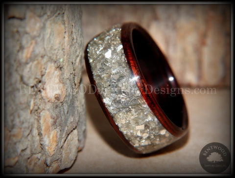 Bentwood Ring - Kingwood Wooden Ring with Wide Crushed Silver Glass Inlay