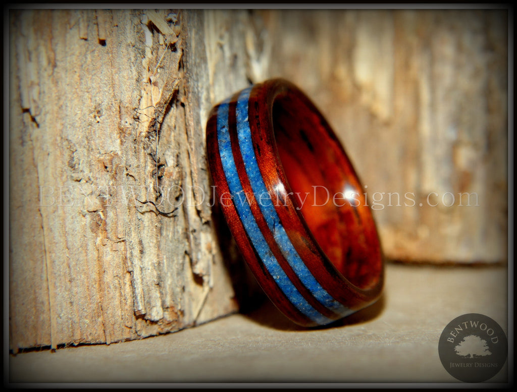 Bentwood Ring - Kingwood Wooden Ring with Double Blue Lapis Inlay - Bentwood Jewelry Designs - Custom Handcrafted Bentwood Wood Rings
