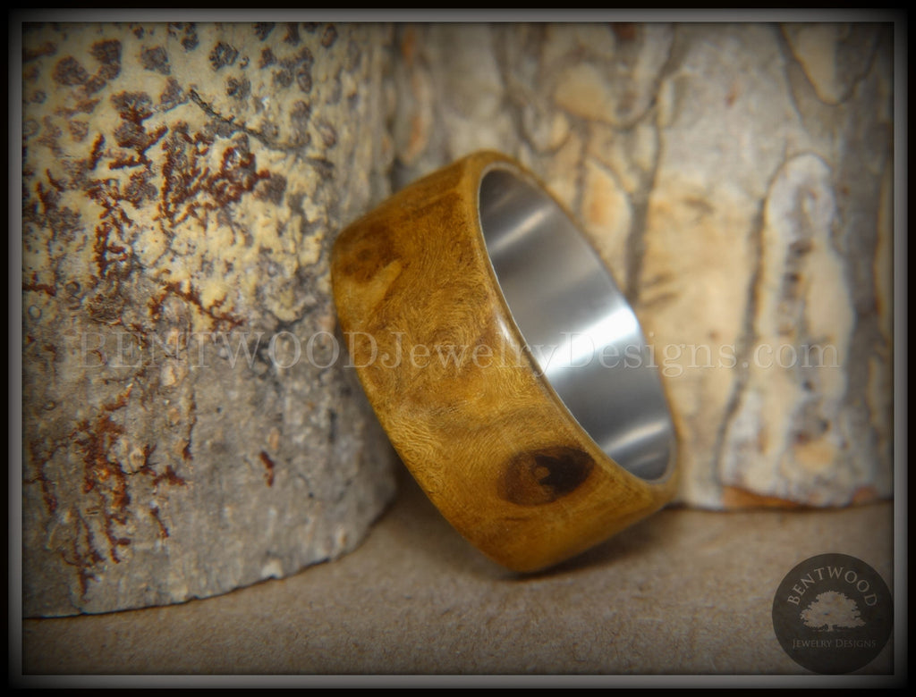 Bentwood Ring - Laurel Burl Wood Ring with Surgical Grade Stainless Steel Comfort Fit Metal Core handcrafted bentwood wooden rings wood wedding ring engagement