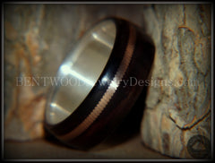 "Bentwood Ring - ""HEAVY Acoustic Minimalist"" Macassar Ebony Wood Ring on Fine Silver Core with Thick Bronze Acoustic Guitar String Inlay - Bentwood Jewelry Designs - Custom Handcrafted Bentwood Wood Rings  - 2"