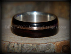 "Bentwood Ring - ""HEAVY Acoustic Minimalist"" Macassar Ebony Wood Ring on Fine Silver Core with Thick Bronze Acoustic Guitar String Inlay - Bentwood Jewelry Designs - Custom Handcrafted Bentwood Wood Rings  - 4"