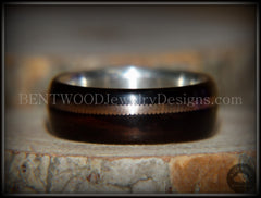 "Bentwood Ring - ""HEAVY Acoustic Minimalist"" Macassar Ebony Wood Ring on Fine Silver Core with Thick Bronze Acoustic Guitar String Inlay - Bentwood Jewelry Designs - Custom Handcrafted Bentwood Wood Rings"