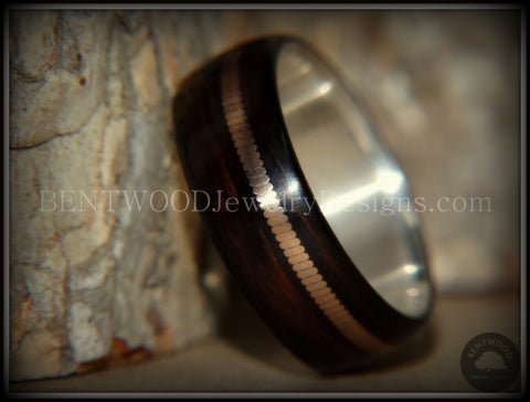 "Bentwood Ring - ""HEAVY Acoustic Minimalist"" Macassar Ebony Wood Ring on Fine Silver Core with Thick Bronze Acoustic Guitar String Inlay"