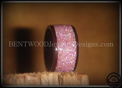 Bentwood Ring - Macassar Ebony Wood Ring with Crushed Lilac Glass Inlay - Bentwood Jewelry Designs - Custom Handcrafted Bentwood Wood Rings  - 4
