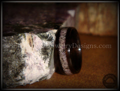 Bentwood Ring Macassar Ebony Wood Ring and Charoite Stone Inlay Handcrafted Bent wood Rings