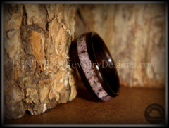 Bentwood Ring - Macassar Ebony Wood Ring and Charoite Stone Inlay - Bentwood Jewelry Designs - Custom Handcrafted Bentwood Wood Rings