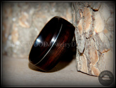 Bentwood Ring - Macassar Ebony with Offset Silver Inlay handcrafted bentwood wooden rings wood wedding ring engagement