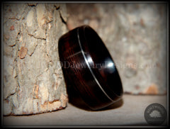 Bentwood Rings - Macassar Ebony Ring with Offset Silver Inlay - Bentwood Jewelry Designs - Custom Handcrafted Bentwood Wood Rings  - 1