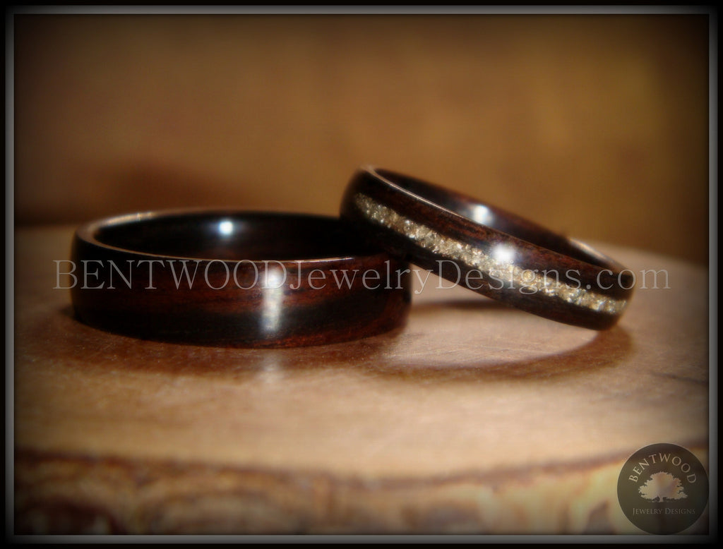 Bentwood Rings Set - Ebony Wood Ring Set with Silver German Glass Inlay handcrafted bentwood wooden rings wood wedding ring engagement
