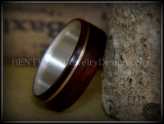 "Bentwood Ring - ""Acoustic Minimalist"" Macassar Ebony Wood Ring on Fine Silver Core with Bronze Acoustic Guitar String Inlay - Bentwood Jewelry Designs - Custom Handcrafted Bentwood Wood Rings  - 2"