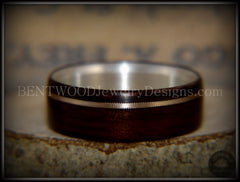 "Bentwood Ring - ""Acoustic Minimalist"" Macassar Ebony Wood Ring on Fine Silver Core with Bronze Acoustic Guitar String Inlay - Bentwood Jewelry Designs - Custom Handcrafted Bentwood Wood Rings  - 3"