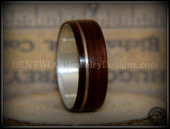 "Bentwood Ring - ""Acoustic Minimalist"" Macassar Ebony Wood Ring on Fine Silver Core with Bronze Acoustic Guitar String Inlay - Bentwood Jewelry Designs - Custom Handcrafted Bentwood Wood Rings  - 4"