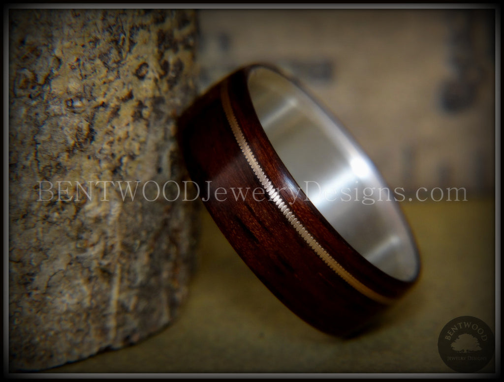 "Bentwood Ring - ""Acoustic Minimalist"" Macassar Ebony Wood Ring on Fine Silver Core with Bronze Acoustic Guitar String Inlay - Bentwood Jewelry Designs - Custom Handcrafted Bentwood Wood Rings  - 1"