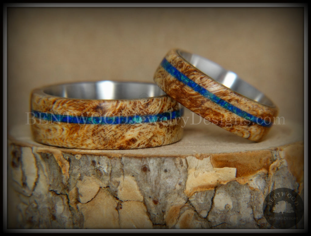 Bentwood Rings Set - Maple Burl on Surgical Steel Core with Azurite and blue Lapis Inlay handcrafted bentwood wooden rings wood wedding ring engagement