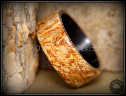 "Bentwood Ring - ""Marbled"" Maple Burl Wood Ring with Surgical Grade ""Onyx Black"" Stainless Steel Comfort Fit Metal Core"