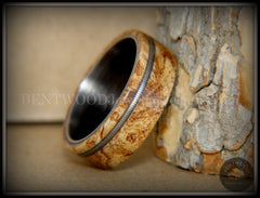 "Bentwood Ring - Maple Burl Wood Ring Offset Guitar String Inlay on Surgical Grade ""Onyx Black"" Stainless Steel Comfort Fit Metal Core handcrafted bentwood wooden rings wood wedding ring engagement"
