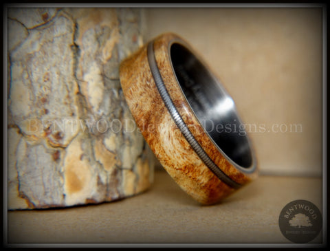 "Bentwood Ring - Maple Burl Wood Ring Offset Guitar String Inlay on Surgical Grade ""Onyx Black"" Stainless Steel Comfort Fit Metal Core"