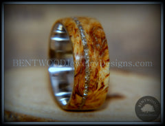 "Bentwood Ring - ""Remembrance"" Maple Burl Cremation Ash Inlay on Surgical Steel Core - Bentwood Jewelry Designs - Custom Handcrafted Bentwood Wood Rings"