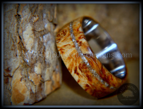 "Bentwood Ring - ""Remembrance"" Maple Burl Cremation Ash Inlay on Surgical Steel Core"
