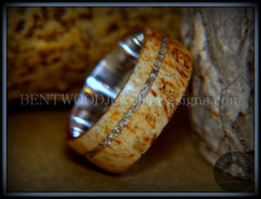 "Bentwood Ring - ""Remembrance"" Maple Burl Cremation Ash Inlay on Surgical Steel Core handcrafted bentwood wooden rings wood wedding ring engagement"