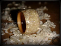 Bentwood Ring - American Maple Wood with Full Natural Mother of Pearl Inlay - Bentwood Jewelry Designs - Custom Handcrafted Bentwood Wood Rings