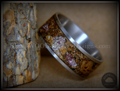 "Bentwood Ring - ""Figured Brown Amethyst"" Glass Rare Mediterranean Oak Burl Wood Ring on Stainless Steel Comfort Fit Core"