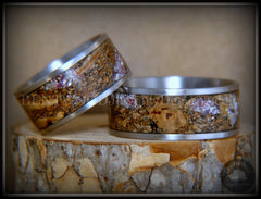 "Bentwood Rings Set - ""Figured Brown Amtheyst"" Mediterranean Oak Burl on Surgical Steel Core handcrafted bentwood wooden rings wood wedding ring engagement"