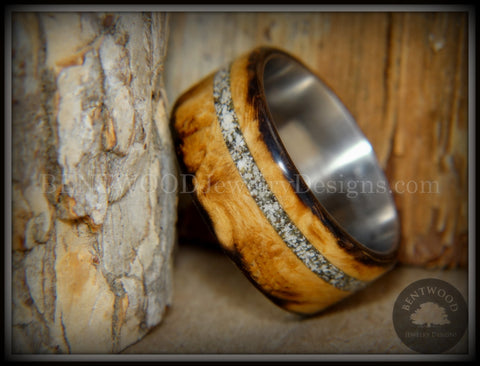 "Bentwood Ring - ""Smoked Steel"" Smoked Olivewood Ring on Titanium Core with Offset Sand Inlay"
