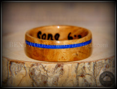 Bentwood Ring - Bethlehem Olive Wood Ring with Offset Blue Lapis Inlay - Bentwood Jewelry Designs - Custom Handcrafted Bentwood Wood Rings