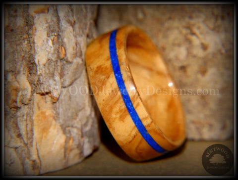 Bentwood Ring - Bethlehem Olive Wood Ring with Offset Blue Lapis Inlay